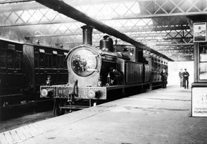 Looking back - No.1 sits under the train shed in the original Downpatrick Station