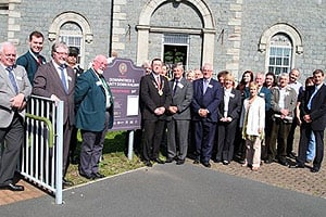 The Pride of Place judges pictured with railway volunteers, local support groups and Councillors outside Downpatrick Railway Station. Photo (c) Down News