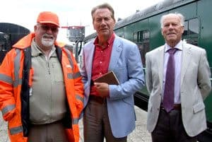 Gerry Cochrane (right) with Michael Portillo and Michael Collins during the filming of Great British Railway Journeys