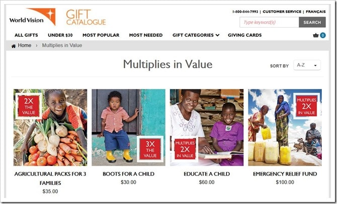 WorldVisionCanada Gift Catalogue_2015 Multiplies in Value