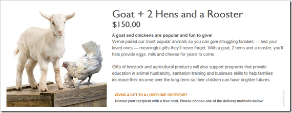 World Vision Gift Catalogue - Goat 2 Hens a Rooster #MeaningfulGifts