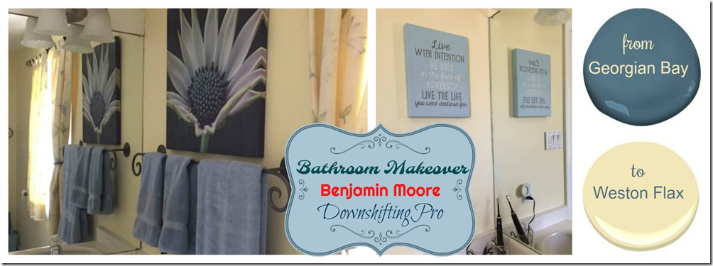Bathroom Makeover from Georgian Bay to Weston Flax with Benjamin Moore @DownshiftingPRO