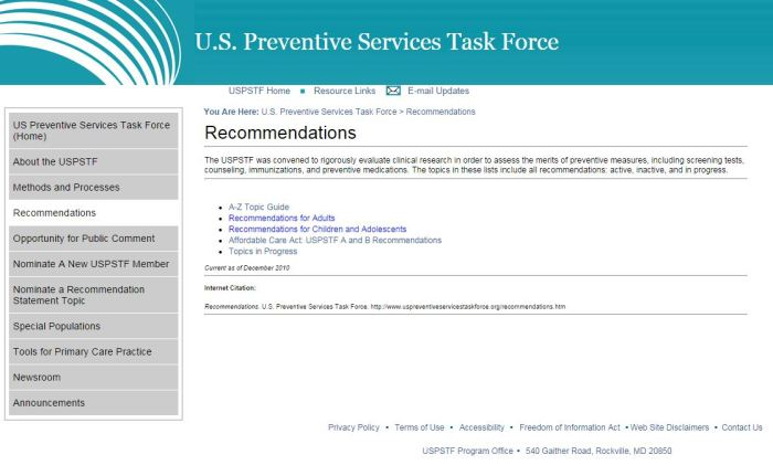 USPSTF recommendations