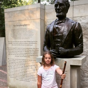 Juliet at the Indiana Lincoln Bicentennial Memorial