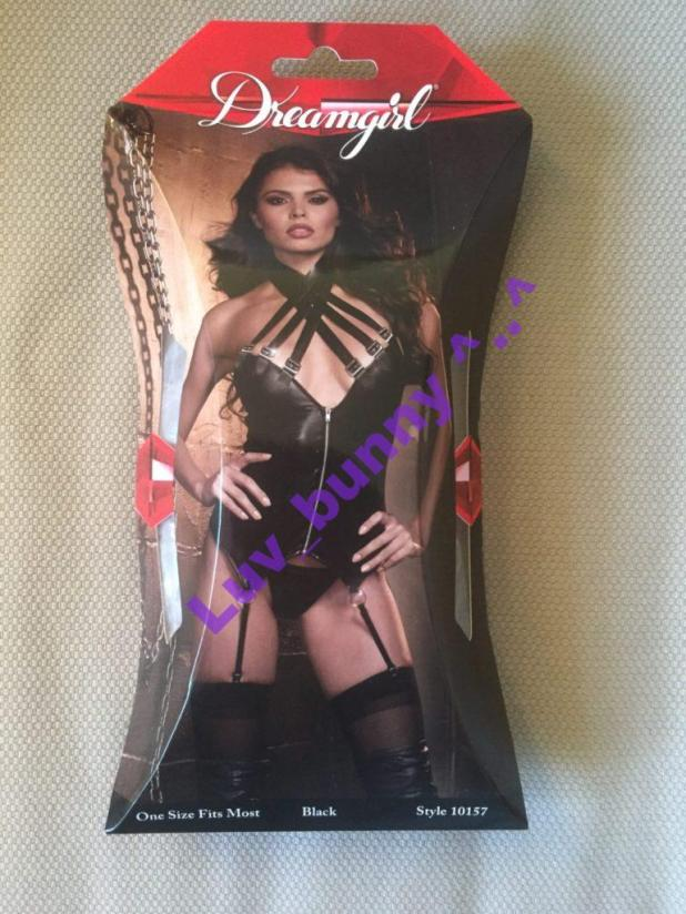 Front of packaging sleeve for the Dreamgirl black wet-look zip front bustier with buckle choker