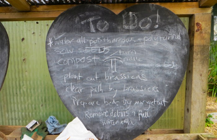 To do list at Selsley Community Growing Scheme