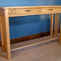 Mission Style Oak Sofa Table Reclining Leather Uk W 2 Drawers
