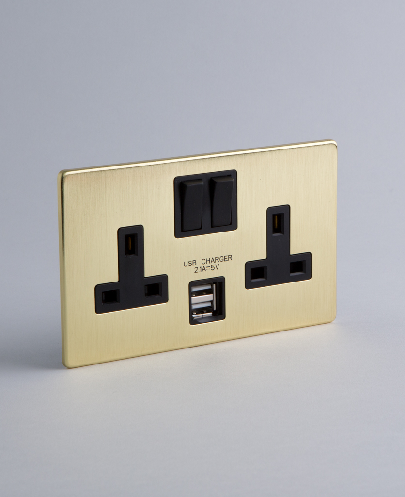 Gold Double Socket USB with Black or White Inserts