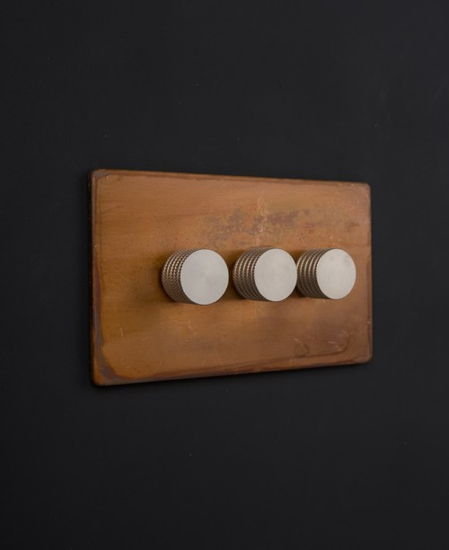 small resolution of perfect copper triple dimmer switch with black gold silver or white knobs sm61
