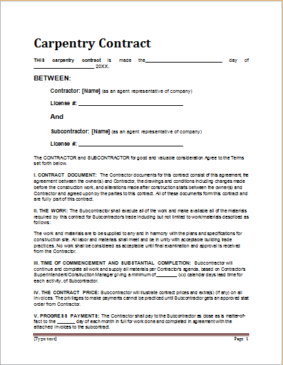 Sample Carpentry Contract Template For MS WORD Document Hub