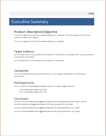 Executive Summary Template For MS WORD Document Hub