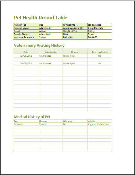 pet health record template excel
