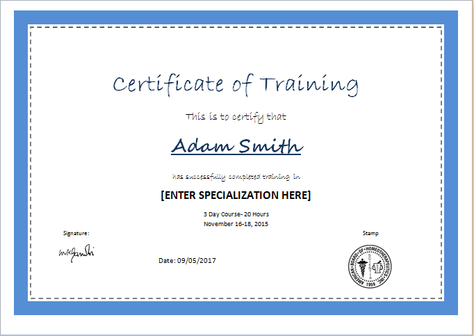 free training certificate templates for word
