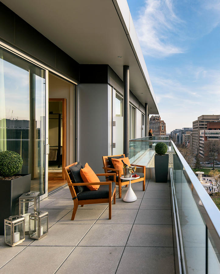 contemporary artwork living room portable furniture penthouse suite in washington dc | the dupont circle hotel