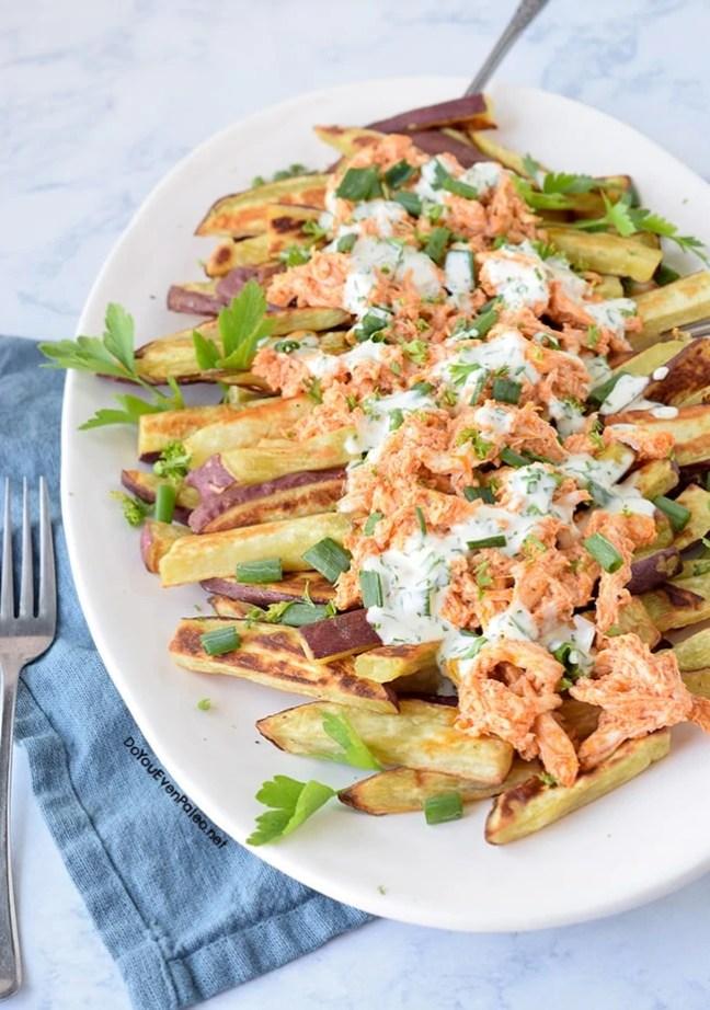 Buffalo Chicken Smothered Sweet Potato Fries | DoYouEvenPaleo.net