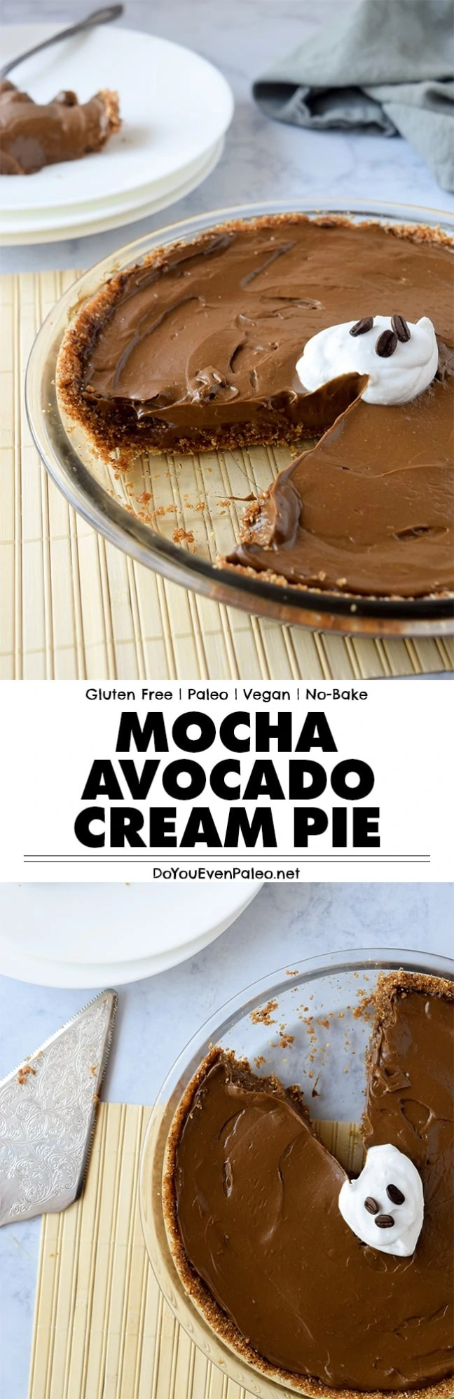 Mocha Avocado Cream Pie - a simple, no bake dessert recipe featuring avocados, chocolate and cold brew coffee! | DoYouEvenPaleo.net
