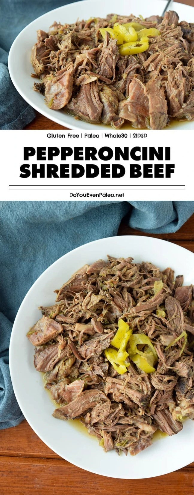 Pepperoncini Shredded Beef - leave a beef chuck roast simmering in the crockpot all day and you'll be rewarded with this flavorful, rich shredded beef! | DoYouEvenPaleo.net