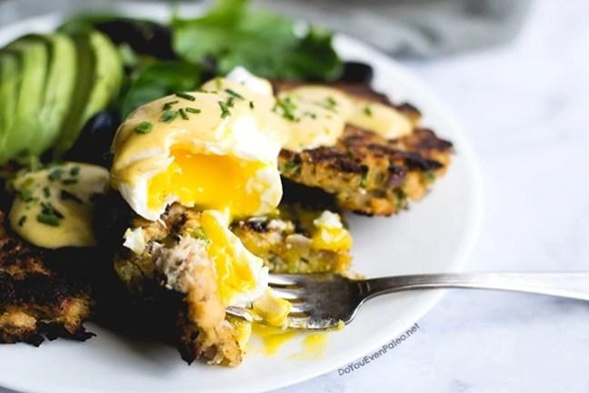 Salmon Cake Eggs Benedict   DoYouEvenPaleo.net
