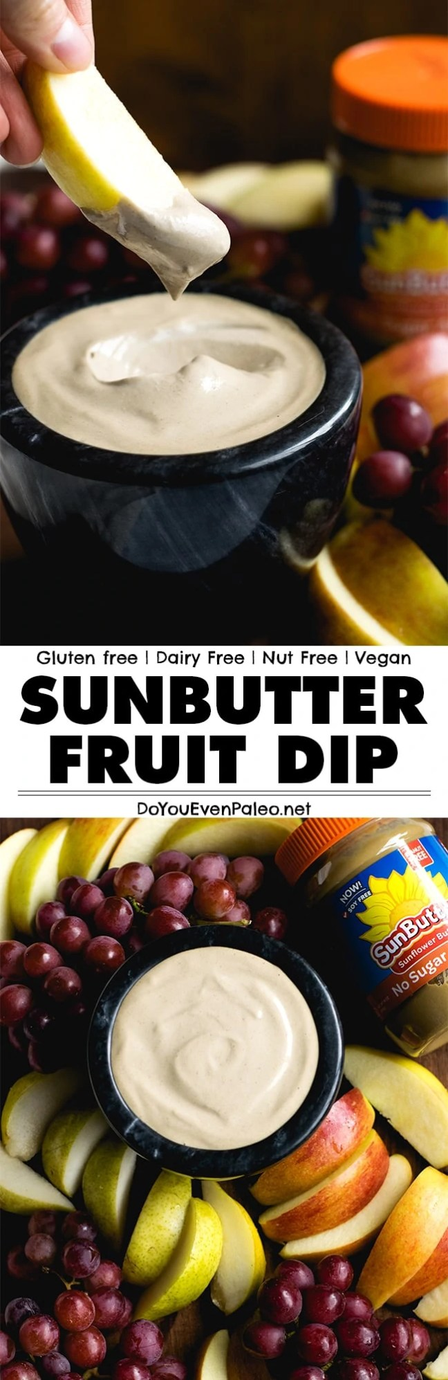 Pair your favorite summer fruits with this Simple Sunbutter Fruit Dip! 5 ingredients and a blender are all you need. Dairy free, nut free, gluten free, and paleo | DoYouEvenPaleo.net