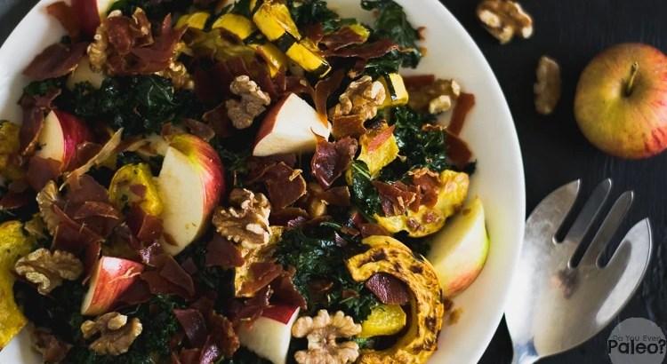 Warm Fall Harvest Salad with Kale, Delicata Squash, and Prosciutto   DoYouEvenPaleo.net