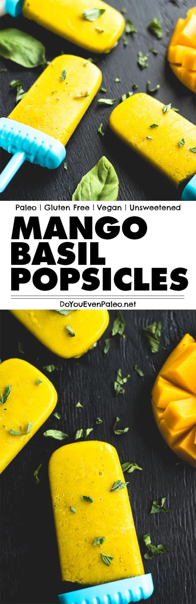 Mango Basil Popsicles: the taste of summer in a sugar free frozen treat! These easy pops are gluten free, paleo, Whole30-friendly, and vegan. | DoYouEvenPaleo.net
