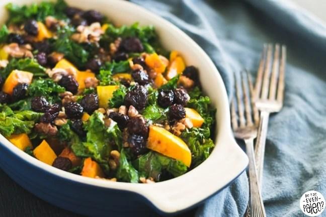 Warm Kale & Butternut Squash Salad with Cranberries & Walnuts   DoYouEvenPaleo.net