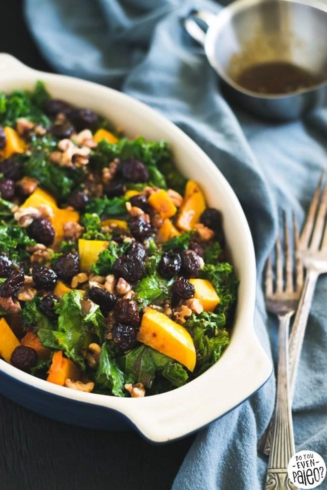Warm Gluten Free Kale & Butternut Squash Salad with Cranberries & Walnuts   DoYouEvenPaleo.net