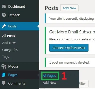 Wordpress step 3 selecting all pages under wordpress admin area
