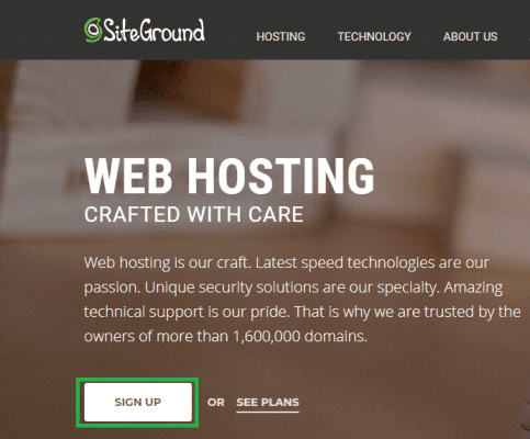 siteground step 1 going to siteground website