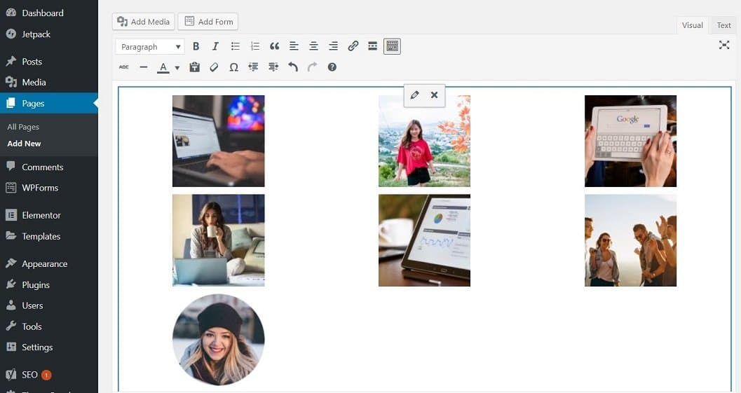 WordPress Gallery Inside your post page