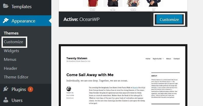 Customize your current theme on WordPress