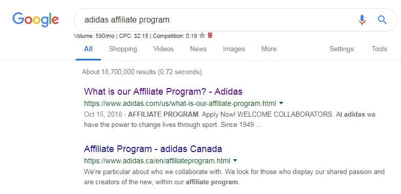 search for company name + affiliate program in google