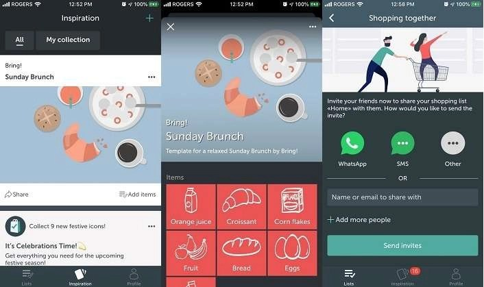 Bring mobile app helps you share your shopping list saving money on grocery