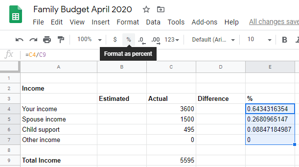Google sheet select all percentages