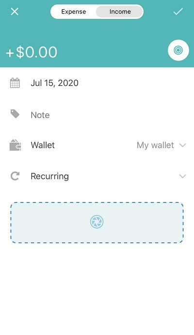 budget and expense tracker adding income