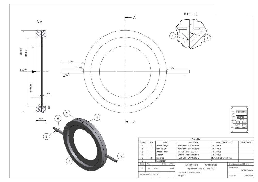 medium resolution of dn450 mrk orifice and carrier
