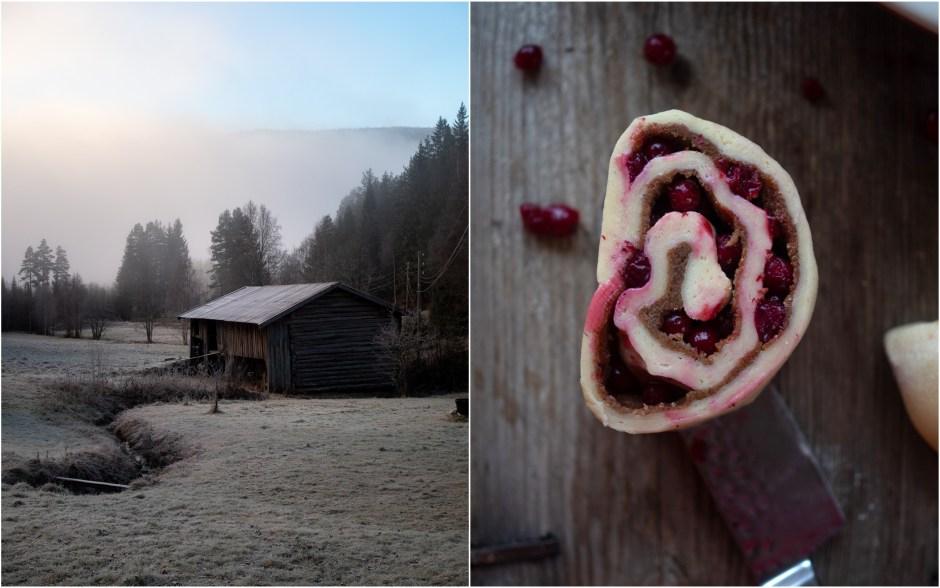 Lingonberry Cinnamon Sweet Buns (tytebær-og kanel snurrer