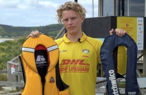 Lifeguard holding suitable lifejackets