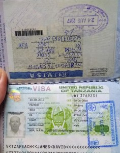 Picture of passport pages with visa stamps.
