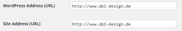 Wordpress Adresse einstellen