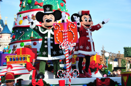 Mickey Mouse and Minnie Mouse at Christmas