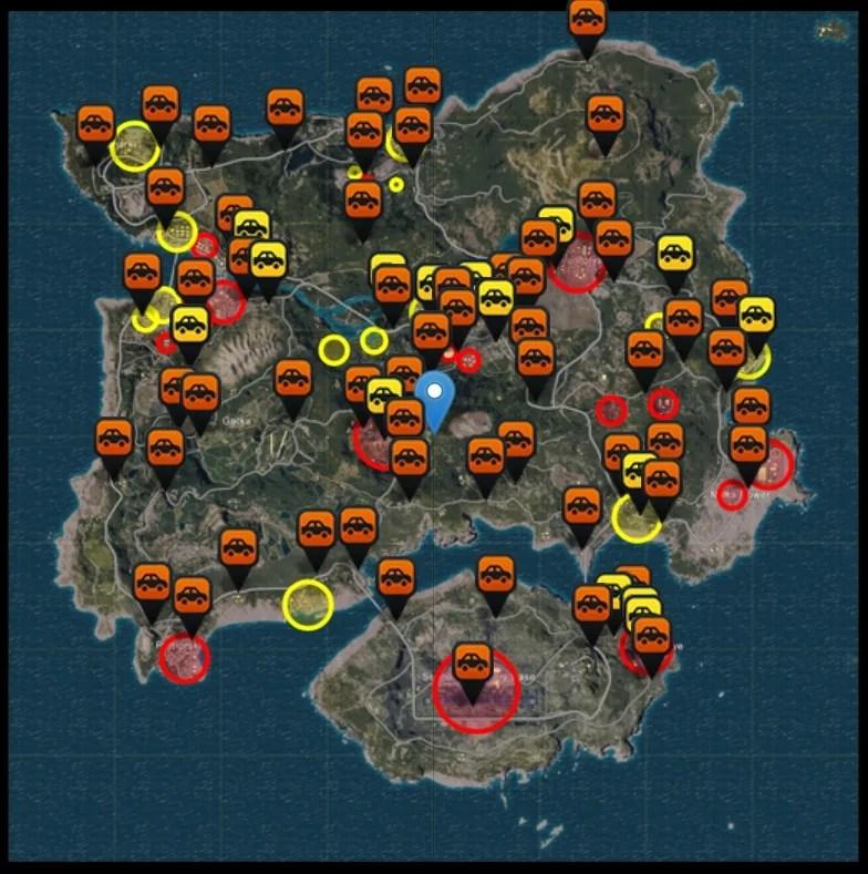 「PUBG」武器が揃いやすい場所や車のスポーン地点を表示してくれるマップサイト