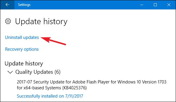 how to uninstall windows 10 update 11