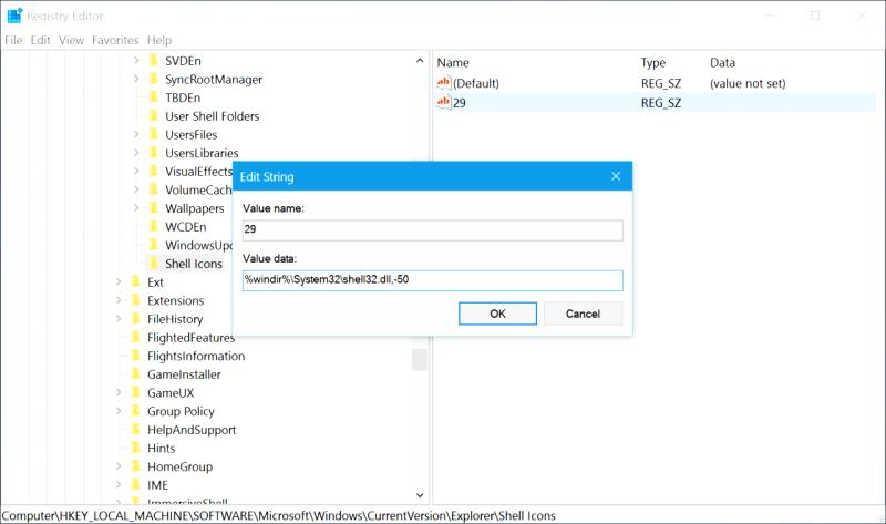 remove shortcut arrows windows 10 5
