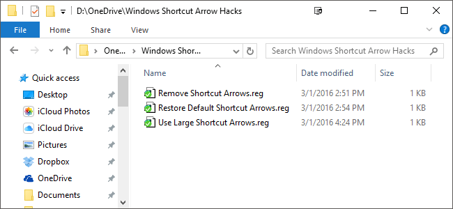 remove shortcut arrows windows 10 8