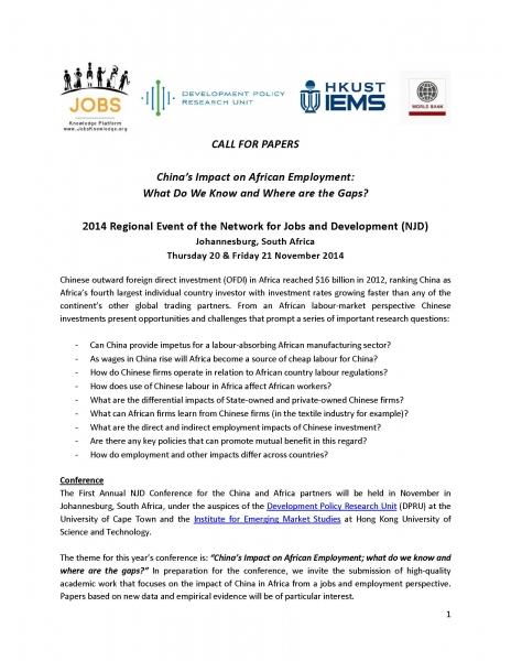 REMINDER Call For Papers China In Africa Conference 2014
