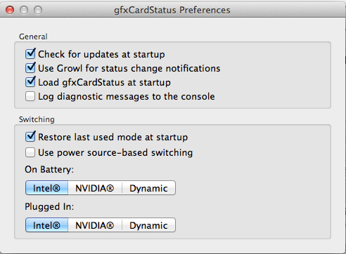 gfxCardStatus - Preferences Pane