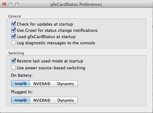 gfxCardStatus - Preferences Pane