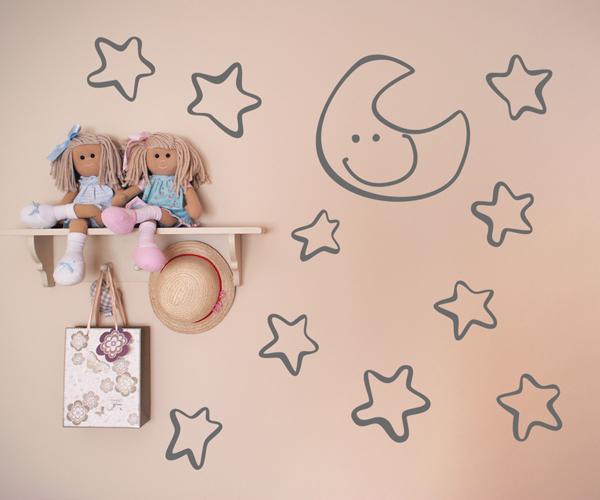 Vinilos decorativos infantiles de luna y estrellas