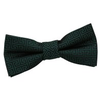 Boy's Greek Key Dark Green Bow Tie